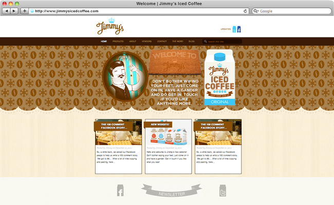 Jimmys Iced Coffee Website